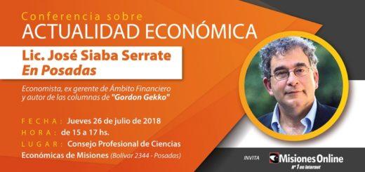 Conferencia del economista José Siaba Serrate en Posadas: la situación de la Argentina y el mundo, desafíos y perspectivas. Reserve su lugar aquí