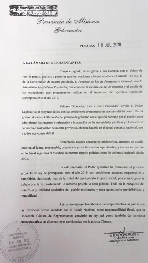 Con anticipación inédita en la historia de la Provincia, Passalacqua giró a la Legislatura el Presupuesto 2019