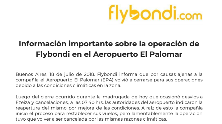 Flybondi explicó en un comunicado los motivos de la cancelación de sus vuelos