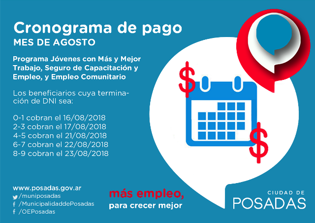 El jueves comienza el pago de los programas sociales de la Oficina de Empleo