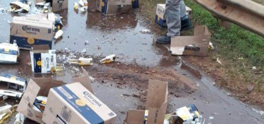 Despistó en Oberá un camión cargado con cerveza