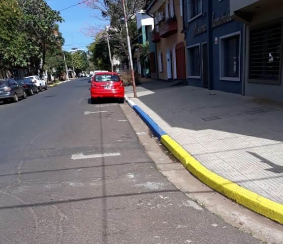 Demarcanlos espacios de estacionamiento sobre la calle 25 de Mayo