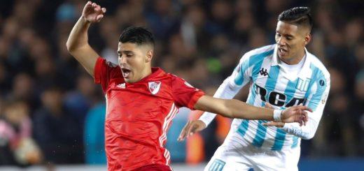 Copa Libertadores: Finalizado el primer tiempo, Racing y River, que se quedó con diez, igualan sin goles