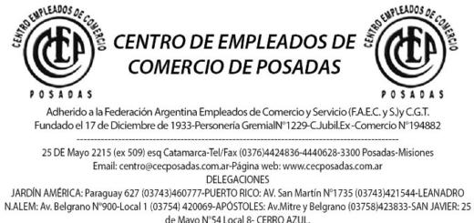 Comunicado Centro de Empleados de Comercio de Posadas