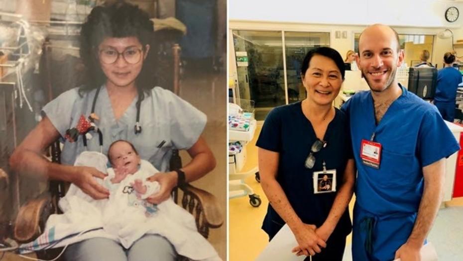 Le salvó la vida cuando era un bebé y ahora son compañeros de trabajo
