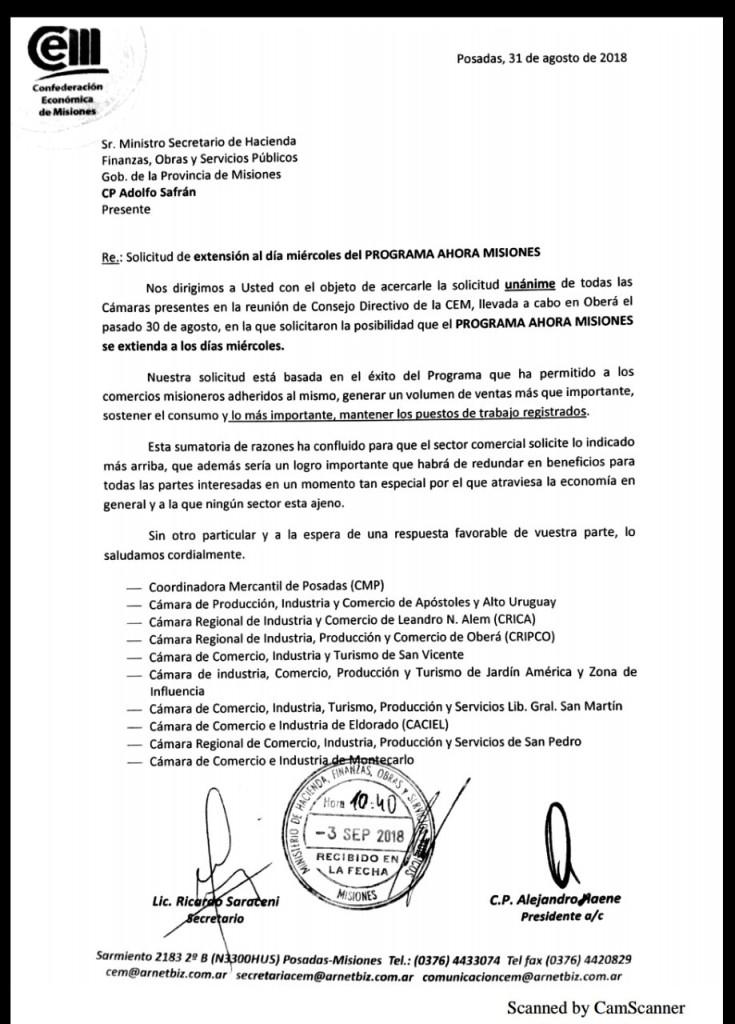 LaCEMformalizó el pedido de extensión del programa#AhoraMisiones