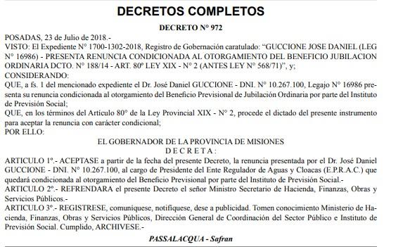 José Guccione renunció a su cargo frente al EPRAC