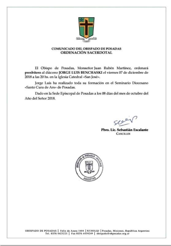 Jorge Benchaski será ordenado sacerdote el próximo 7 de diciembre en la Catedral de Posadas