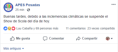 #Estudiantina2018: Apes informó que por las inclemencias climáticas se suspende el Show de Scola previsto para hoy