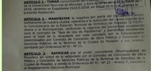 Resolución del Concejo Deliberante devuelve al Ejecutivo municipal de Posadas resolver sobre Derecho de Embarque