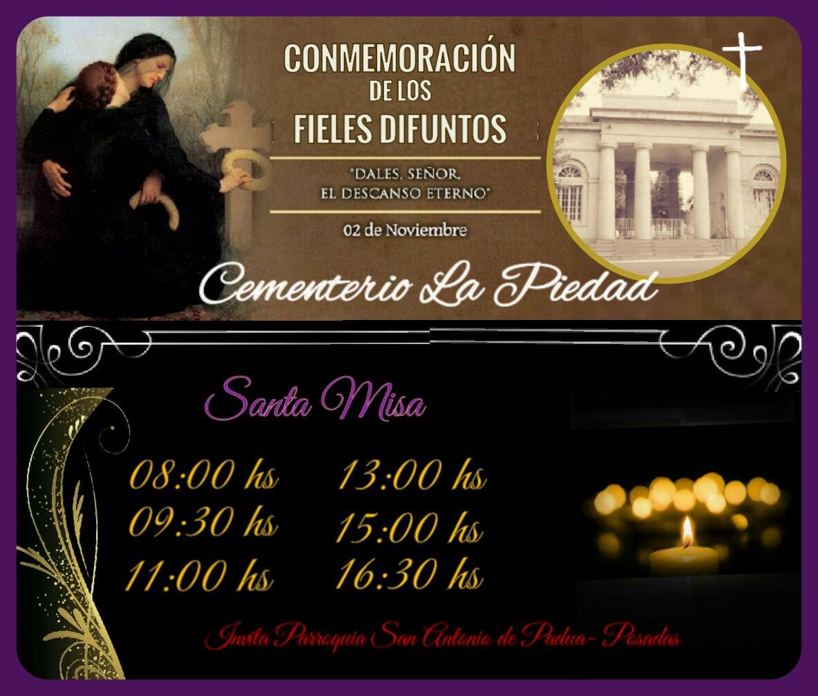"""Realizarán misas para conmemorar el """"Día de todos los difuntos"""" en el Cementerio """"La Piedad"""" de Posadas"""