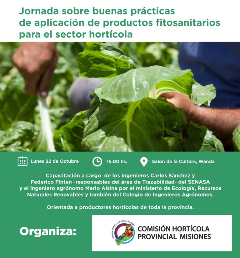 """Capacitarán sobre «Buenas prácticas de aplicación de productos fitosanitarios para el sector hortícola"""", en Eldorado y Wanda"""