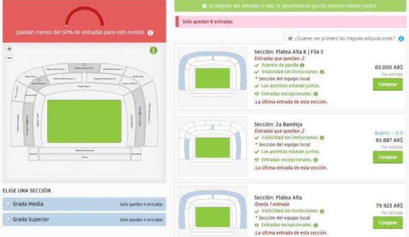 #SuperFinalLibertadores: comenzó la reventa de entradas para el partido de ida y piden hasta 120 mil pesos por una platea