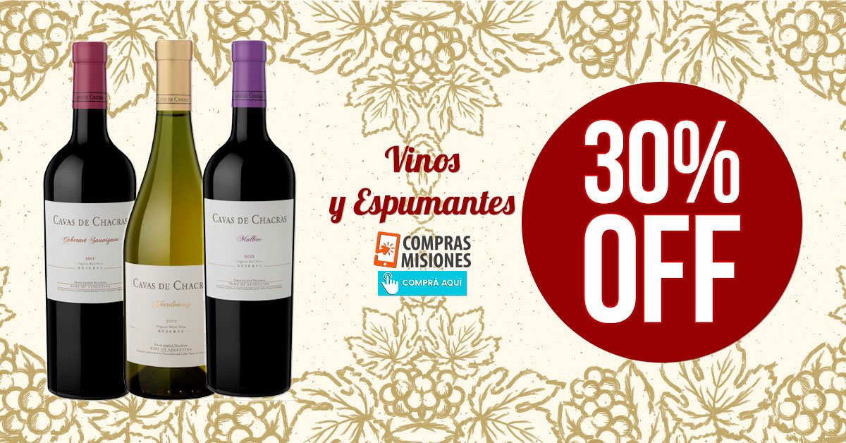 Promoción de vinos y espumantes de alta gama en Compras Misiones: 30% de descuento
