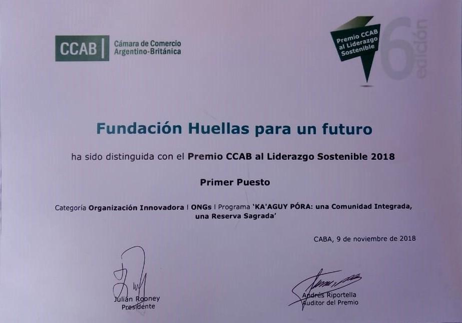 """#OrgulloMisionero: Fundación Huella Para un Futuro fue reconocida con la distinción a la """"Excelencia en Sostenibilidad 2018"""" por su trabajo socioambiental en Misiones"""