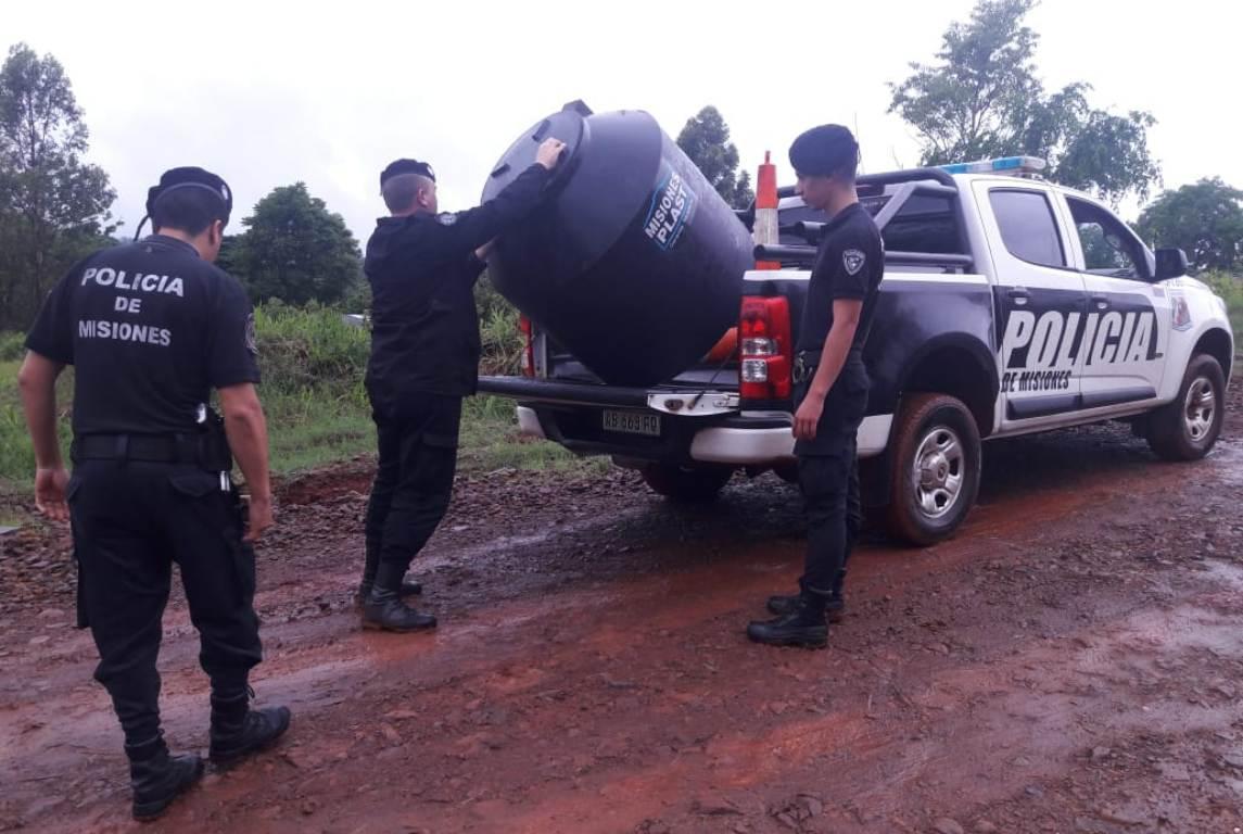 En Oberá, recuperan un tanque robado en una obra en construcción y buscan al autor del ilícito