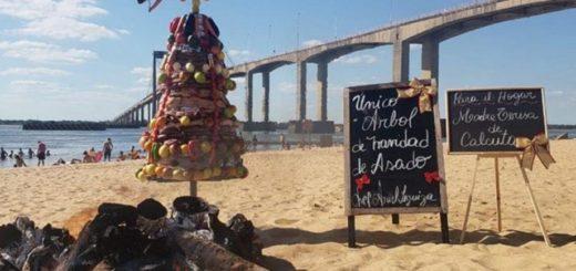Un chef armó un árbol de navidad hecho de asado en plena playa correntina