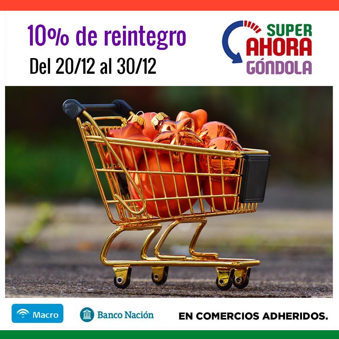 """A partir de mañana hasta el 30 de diciembre estará vigente el """"Súper Ahora Góndola"""" con 10% de reintegro en supermercados adheridos"""