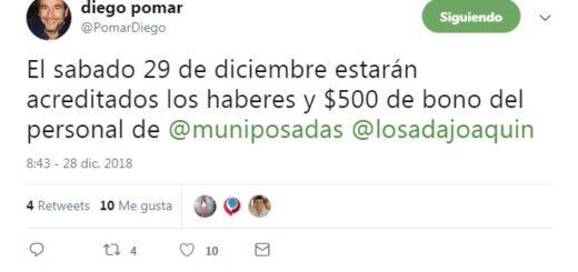 Mañana estarán acreditados los sueldos y 500 pesos del bono para el personal de la Municipalidad de Posadas