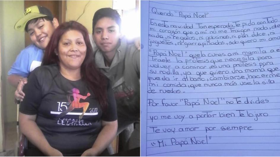 Carta viral: le pidió a Papá Noel que su mamá vuelva a caminar
