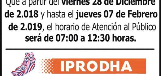 Nuevos horarios de atención de IPRODHA