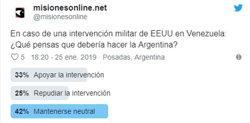 Encuesta: el mayor porcentaje dice que la Argentina debería mantenerse neutral en caso de una intervención militar de EEUU a Venezuela