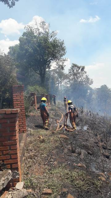 Iguazú: Intensa movilización de bomberos por incendio en la ribera del río Paraná