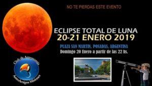 El eclipse de Luna se podrá ver, en Posadas, desde telescopios instalados en la plaza San Martín