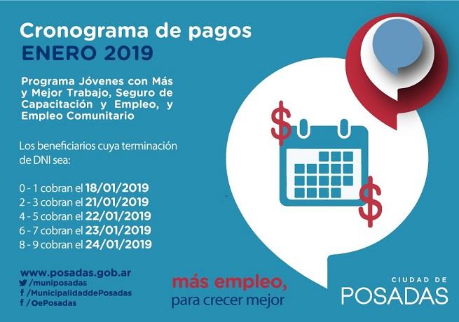 El viernes 18 de enero comienza el pago de los programas sociales de la Oficina de Empleo en Posadas