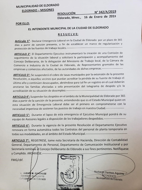 """Norberto Aguirre explicó los motivos por los cuales decidió declarar la Emergencia Laboral: """"Desde el 2016 hasta hoy tuvimos más de 450 despidos"""""""