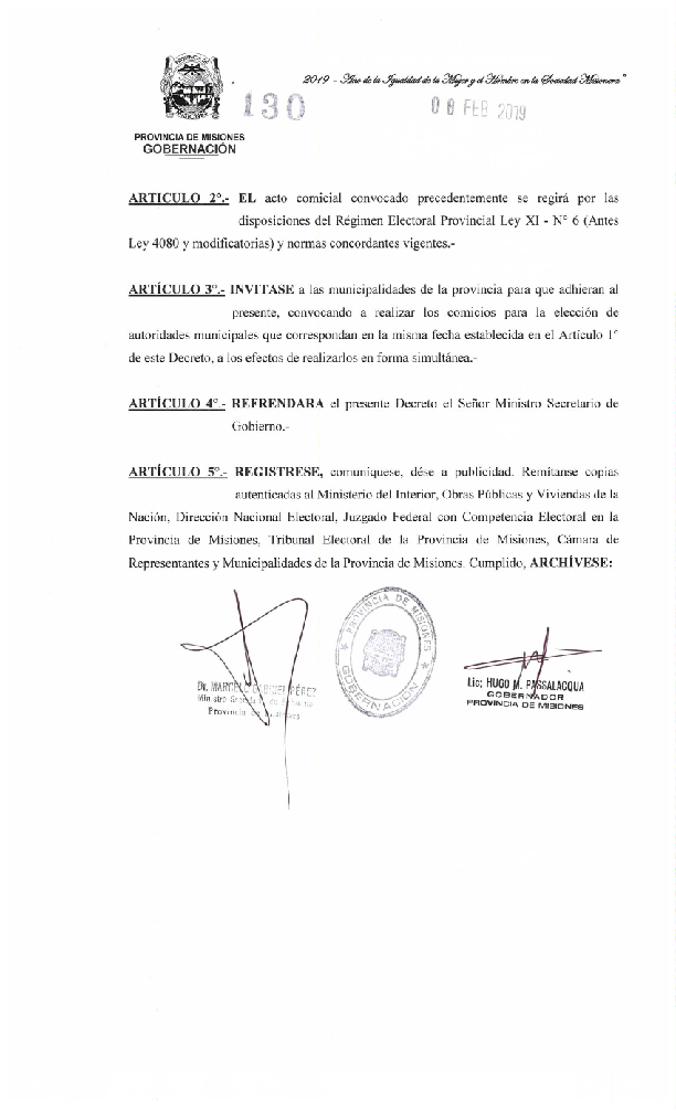 Passalacqua firmó decreto de convocatoria a elecciones para el 2 de junio