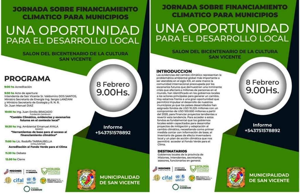 Este viernes en San Vicente, realizarán una jornada sobre financiamientos para programas relacionados al cambio climático