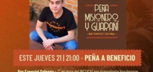 Este jueves 21 habrá peña solidaria para Ezequiel Galeano, un joven eldoradense que necesita un trasplante de pulmones