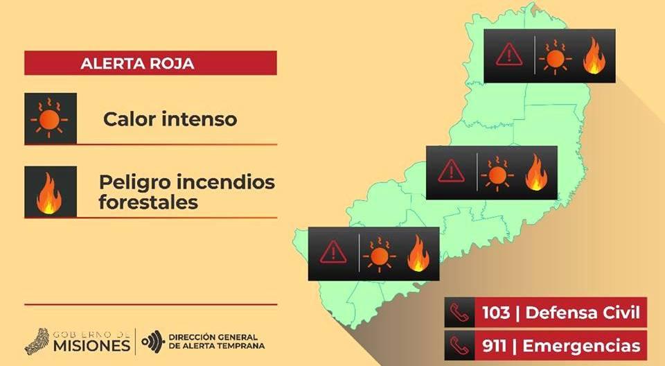Alerta roja en Misiones por riesgos de incendios forestales