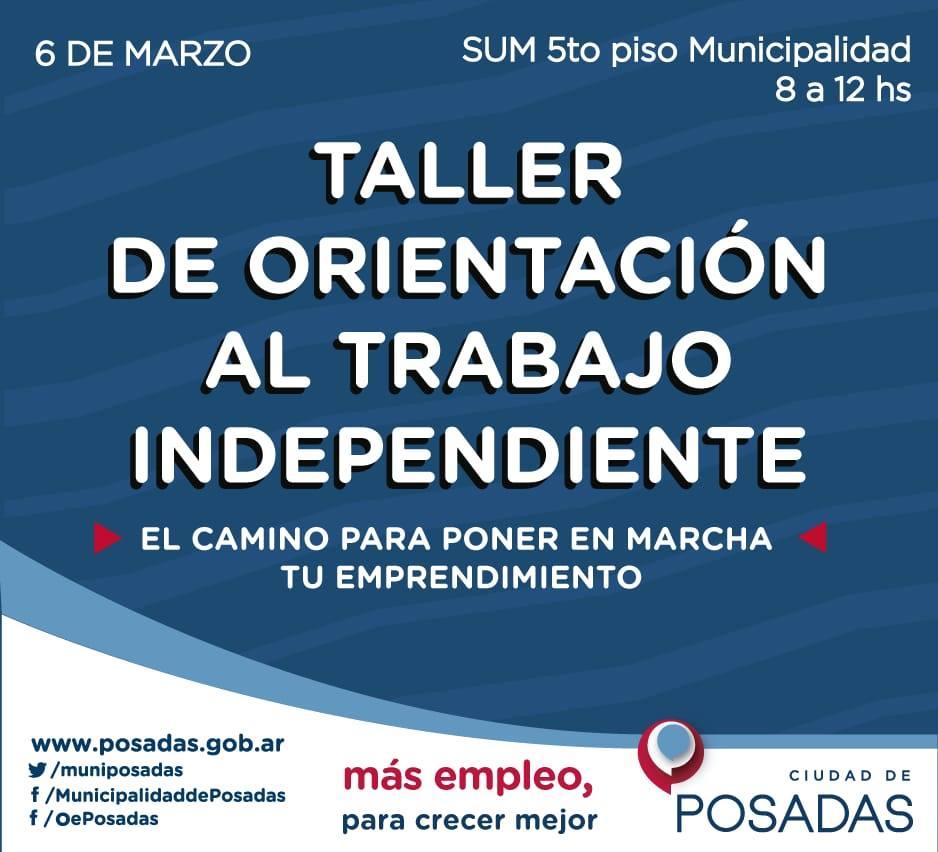 Posadas: comienza el taller de Orientación al trabajo independiente