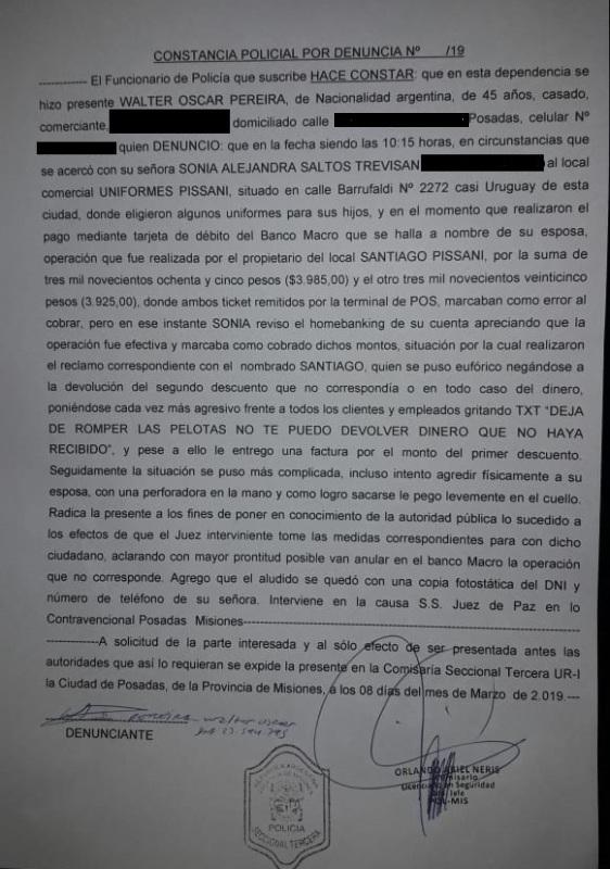 Posadas: durante la compra de uniformes escolares una pareja denunció que fue agredida por un conocido comerciante