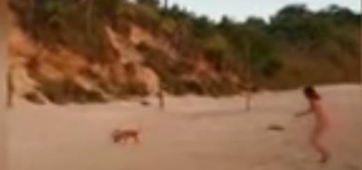 Video viral: una mujer se desnudó en una playa de Ituzaingó y un perro le robó la ropa