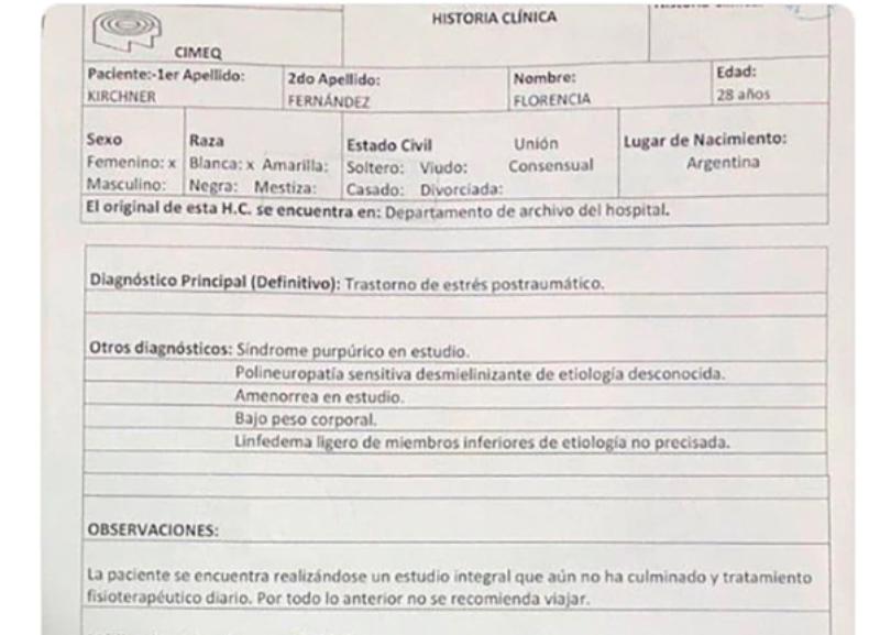Cristina Kirchner publicó la historia clínica de su hija Florencia