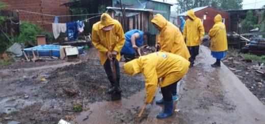 Posadas: por el temporal, la Municipalidad asistió a distintos barrios de la ciudad