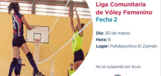Este sábado se disputará la segunda fecha de la Liga Comunitaria de Vóley Femenino