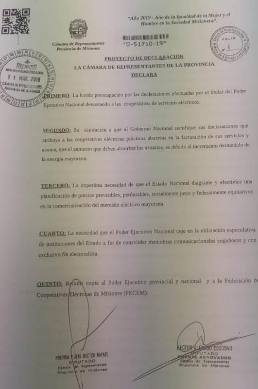 Pereyra Pigerl pide que el presidente Macri rectifique sus declaraciones hacia las Cooperativas Eléctricas