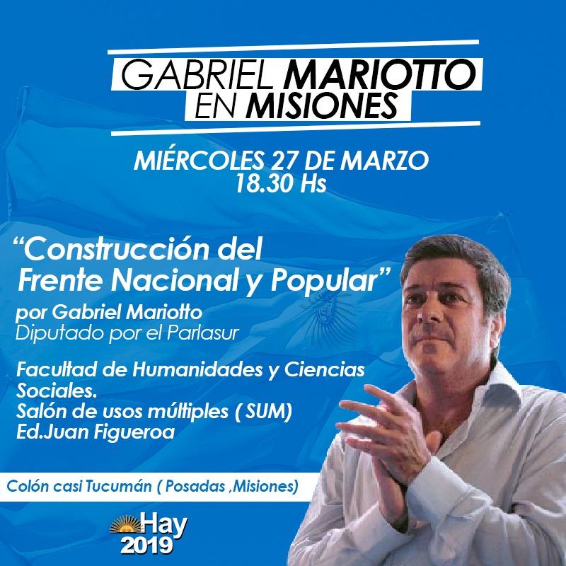 Gabriel Mariotto disertará en Posadas