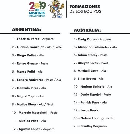 #MundialDeFutsal: antes de la ceremonia inaugural, Argentina y Australia ya confirmaron alineaciones