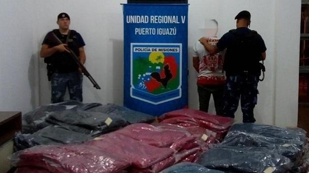 Frustraron contrabando de camperas y detuvieron a un hombre en Puerto Iguazú