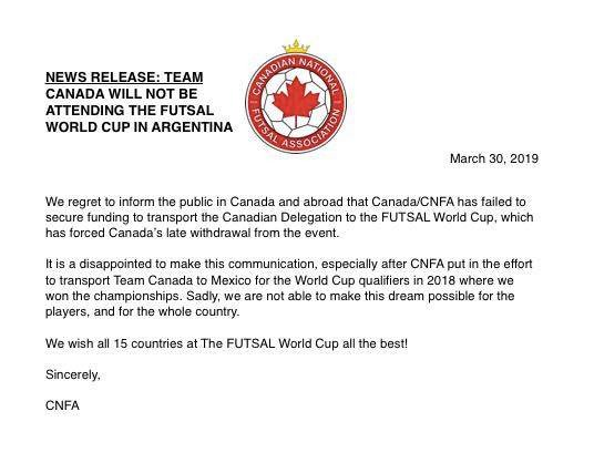 #MundialDeFutsal: una Selección se baja a último momento y el reemplazo ya está en camino