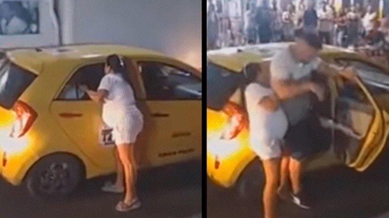 Una mujer embarazada sorprendió a su marido con una amante y el video se viralizó en las redes