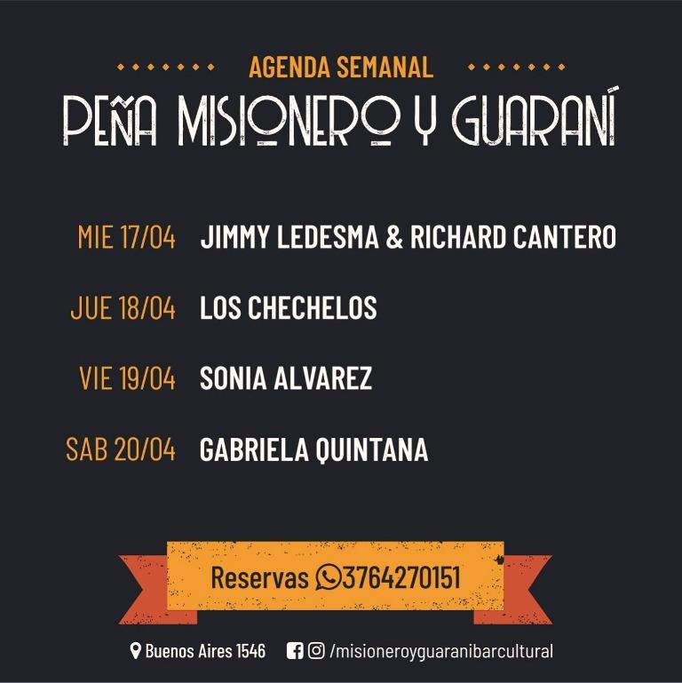 Semana Santa en la Peña Misionero y Guaraní: hoy se presentan Jimmy Ledesma & Richard Cantero