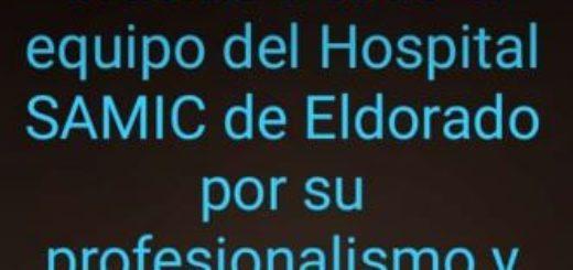 """Alex Ziegler le agradeció al personal del hospital de Eldorado su """"profesionalismo y humanidad"""""""