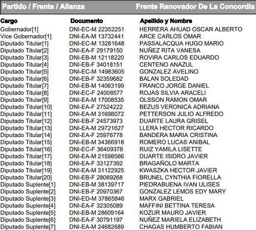 #Elecciones2019: vea el listado completo de candidatos a gobernador, vicegobernador, diputados, intendente y concejales en los 76 municipios de Misiones