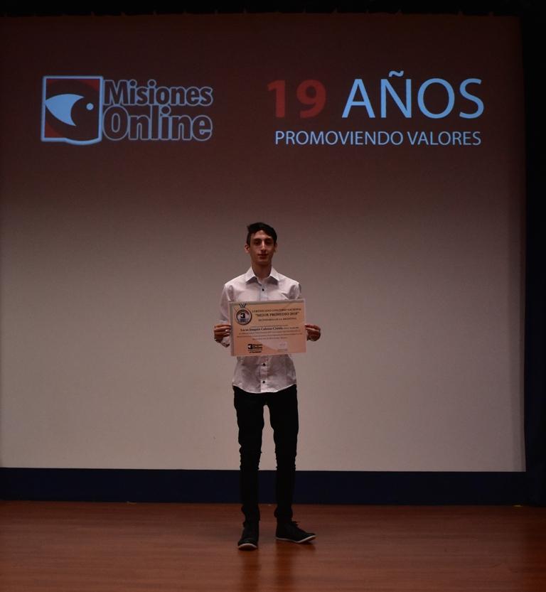 #ConcursoMejorPromedio: Lucas Calosso Cistola, de Zárate, fue uno de las ganadores de la Beca Banco Macro de secundarias del país